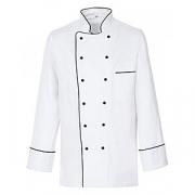 Куртка поварская с окант.50р.б/пуклей, полиэстер,хлопок, белый,черный