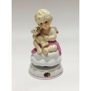 Фарфоровая музыкальная статуэтка «Ангелочек с мишкой» 16,3 см