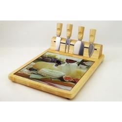 Набор для сыра: разделочная доска и 4 ножа