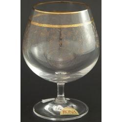 Рюмка для бренди 400 мл «Гала» панто + втертое золото +золотая полоска в декоре + золотая кайма