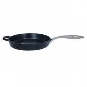 Сковорода-гриль 29 см, чугунная, круглая, баклажан