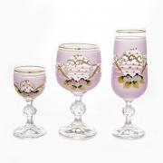 Набор бокалов 18 шт. «Лепка розовая» (60,180,190 мл. )