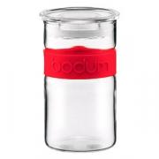 Банка с крышкой, стекло,пластик, 250мл, прозр.,красный