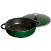 Кастрюля с крышкой низкая чугунная, dia 24 см, 2,4 л, цвет темно-зеленый