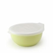 Фарфоровый лоток с пластиковой крышкой цвет - Молочная дыня