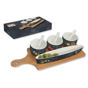 Набор для закуски: 3 чаши (8см) с ложками, блюдо (26х4.5см), поднос