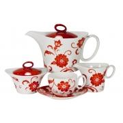 Сервиз чайный 17пр. на 6 персон «Амата Красный»