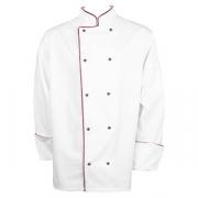 Куртка поварская с окант. 58разм., твил, белый,бордо