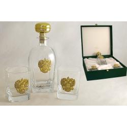 Набор для виски: штоф и 2 бокала «Россия» (золото)