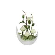 Декоративные цветы Розы белые в керам вазе