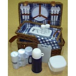 Набор для пикника с подносом на 6 персон (сине-белая клетка)
