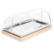 Буфет-витрина с крыш., сталь нерж.,пластик, H=25.5,L=53,B=32.5см