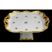 Блюдо квадратное 30см на ножке«Роза золотая»