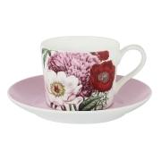 Чашка с блюдцем (розовая) Лаура в подарочной упаковке