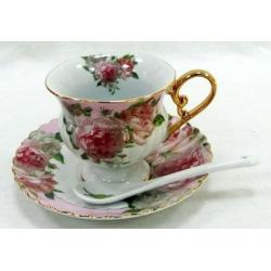 Набор: 6 чашек, 6 блюдец, 6 ложек «Розовая роза»
