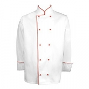 Куртка поварская с окант. 64разм., твил, белый,красный