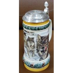 Пивная керамическая кружка «Стая волков» Объем - 0,5 л
