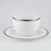 Чашка 320мл с блюдцем 16см «Серебряная вышивка»