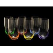 Набо стаканов для воды разноцветное дно 6 штук