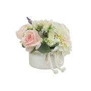 Декоративные цветы Розы св.розов и георгины в керам вазе