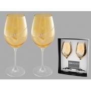 Набор бокалов для вина амб (2 шт) «Диагональ с кристаллами»