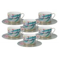 Чайный набор : 6 чашек (сер) + 6 блюдец Восточная лилия