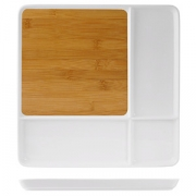 Блюдо для стейка/сыра, бамбук,фарфор, H=23,L=290,B=290мм