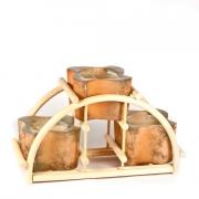 Подсвечник на ратановой подставке - терракотовый см