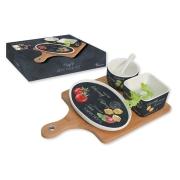 Набор для закуски: чаша (8см) с ложкой, салатник (9х9см), блюдо (18.5х12см), поднос
