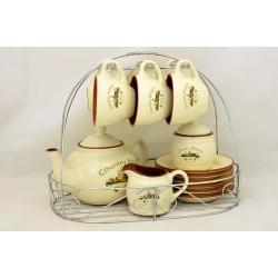 Чайный сервиз на 6 персон 15 предметов(чашки, блюдца, сахарница, молочник, чайник)