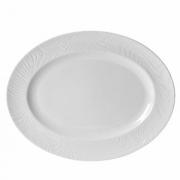 Блюдо овальное «Оптик», фарфор, H=20,L=340,B=265мм, белый