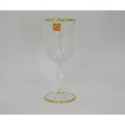 Набор 6 бокалов для вина 230мл с золотом «Опера»