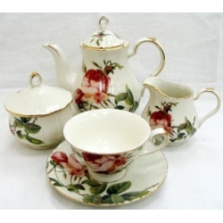 Набор из 12 предметов: 6 чашек + 6 блюдец «Роза Альба» (красная)