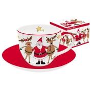 Чашка с блюдцем Дед Мороз с друзьями