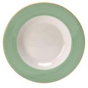 Тарелка для пасты «Рио Грин», фарфор, D=27см, белый,зелен.
