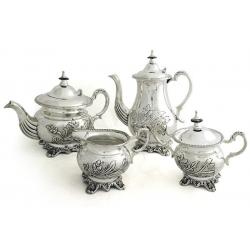 Набор чайник, кофейник, сахарница, молочник.Посеребренная латунь