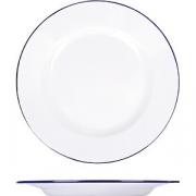 Тарелка мелкая эмалиров. D=24см; белый, синий