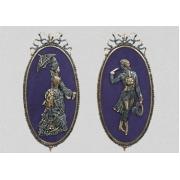 Пара картин «Дама и кавалер» синий большой