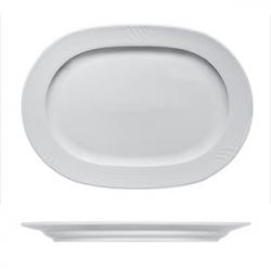 Блюдо овал. «Карат», фарфор, H=25,L=290,B=215мм, белый