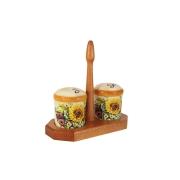 Набор для специй на деревянной подставке Подсолнухи Италии