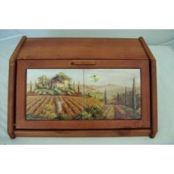 Деревянная хлебница с керамическими вставками «Кьянти»