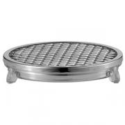 Поддон круглый с решеткой для слива, сталь нерж.