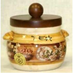 Банка для сыпучих продуктов с деревянной крышкой (чай) «Кантри» 0,5 л