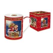 Кружка (красная) Дед Мороз в печной трубе