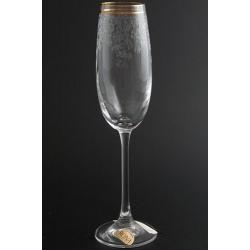 Бокал для шампанского 180 мл «Эсприт» оптика декор панто+ золотая полоса в вехней части декора +золотая кайма по краю рюмки