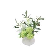 Декор.цветы Лилии белые и гортензии в керам.вазе
