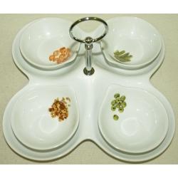Набор из 4-х салатников на блюде салатник -10см, блюдо - 25х25 см