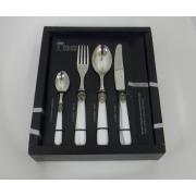 Набор столовый 24 пр «Наполеон» с перламутровыми ручками Белый (короткая коробка)