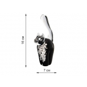 Скульптура для интерьера кот черный с белой грудкой 16х7см