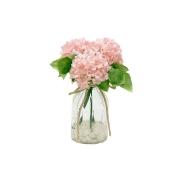 Декор.цветы Гортензии розовые в стекл.вазе